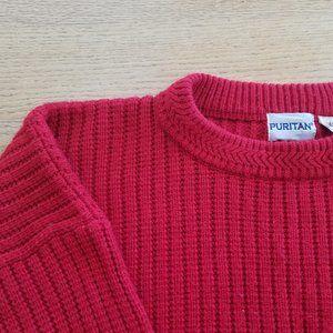 PURITAN Mens Red Pullover Crewneck Sweater L EUC